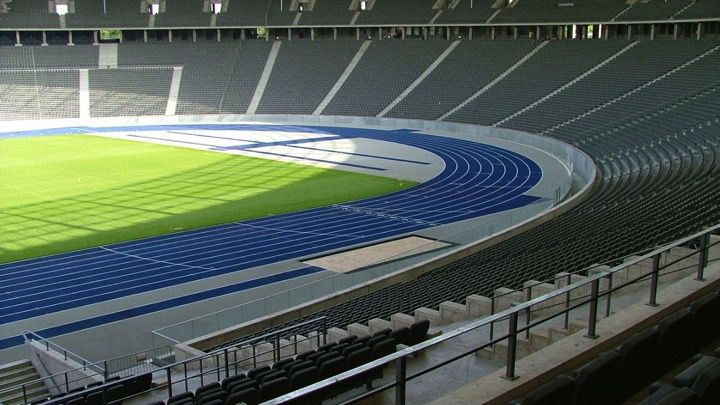 The Olympic Stadium in Berlin. Outdoor athletics and football sports arena and prior host of the Olympic Games.